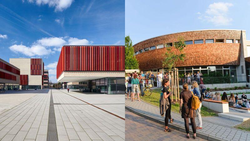 Die Hochschulen Ruhr West (links) und Eberswalde (rechts). Quelle: Daniel Bonsen / Ullrich Wessolek, Collage: PtJ